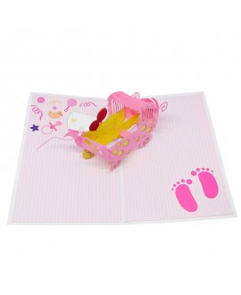 Tarjeta Origami Color - Nacimiento Rosa