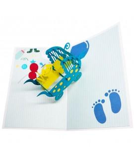 Tarjeta Origami Color - Nacimiento Azul