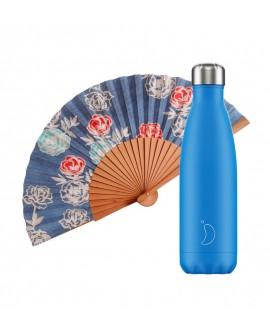 Pack Chilly Bottle Neon Blue 500 + Tusitala Scarlet Fan