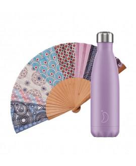Pack Chilly Bottle Pastel Purple 500 + Tusitala Patchwork Oriental Fan